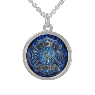 Firefighter sterling silver necklace round