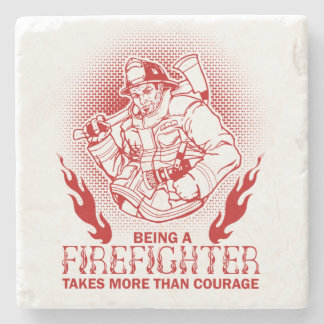 Firefighter Stone Beverage Coaster