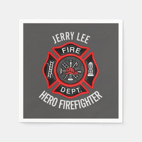 Firefighter Text Name Personalised Paper Serviettes