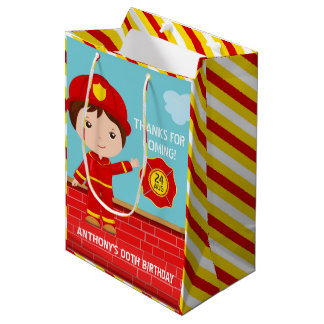 Firefighter themed Birthday Party Guest Favor Medium Gift Bag