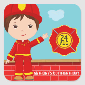 Firefighter themed Birthday Party Guest Favor Square Sticker