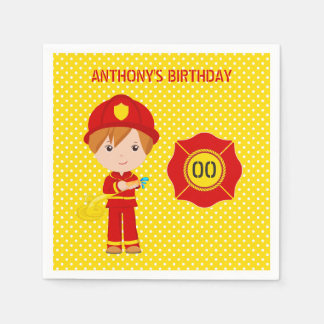 Firefighter themed Birthday Party personalized Disposable Serviette