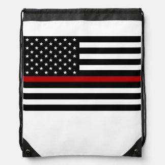 Firefighter Thin Red Line Drawstring Backpack