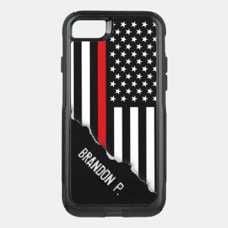Firefighter Thin Red Line Flag Custom Name OtterBox Commuter iPhone 8/7 Case