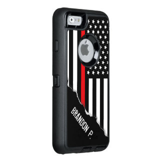Firefighter Thin Red Line Flag Custom Name OtterBox iPhone 6/6s Case