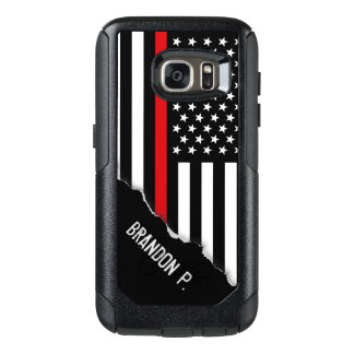Firefighter Thin Red Line Flag Custom Name OtterBox Samsung Galaxy S7 Case