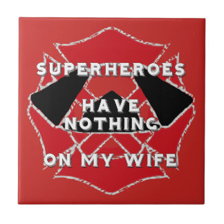 Firefighter wife small square tile