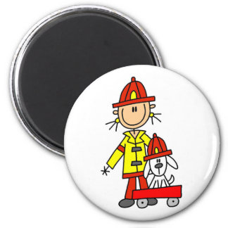 Firefighter with Dalmation Tshirts and Gifts 6 Cm Round Magnet