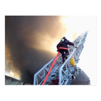 Firefighters Climbing Ladder Postcard