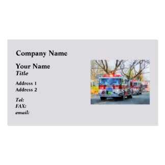 Firefighters - Line of Fire Engines in Parade Double-Sided Standard Business Cards (Pack Of 100)