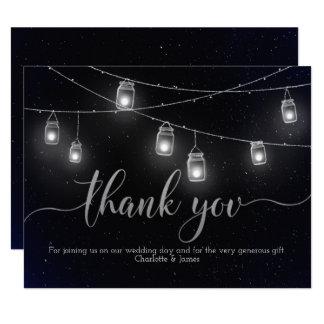 Fireflies and Mason Jar Lights Night Sky Thank You Card