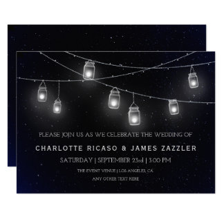 Fireflies and Mason Jar Lights Night Sky Wedding Card