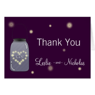 Fireflies in Mason Jar Love Heart Thank You Note Card