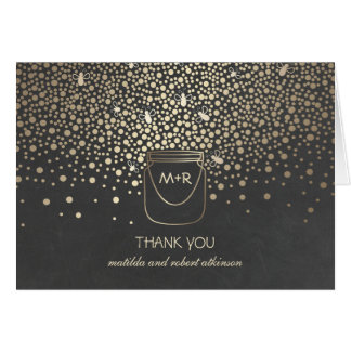 Fireflies Mason Jar Gold Chalk Wedding Thank You Card