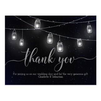 Fireflies Mason Jar Lights Night Sky Thank You Postcard