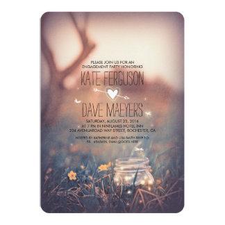 Fireflies Mason Jar Rustic Garden Engagement Party Card