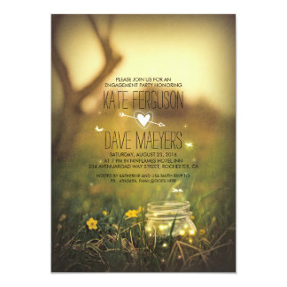 Fireflies Mason Jar Rustic Garden Engagement Party Card