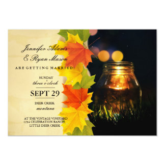 Fireflies Mason Jar Rustic Garden/fall theme 13 Cm X 18 Cm Invitation Card