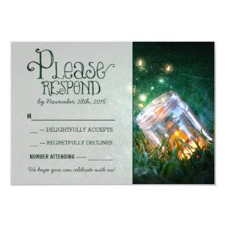 fireflies mason jar rustic garden wedding RSVP 9 Cm X 13 Cm Invitation Card