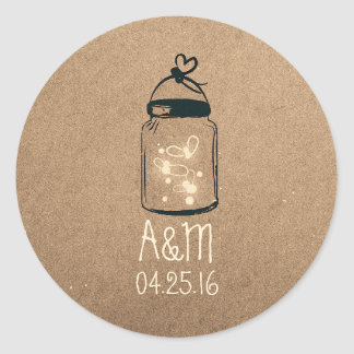 fireflies mason jar rustic round sticker