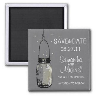 Fireflies Vintage Mason Jar Save the Date Magnets