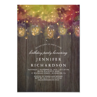 Firefly Lights and Mason Jar Rustic Birthday Party Card