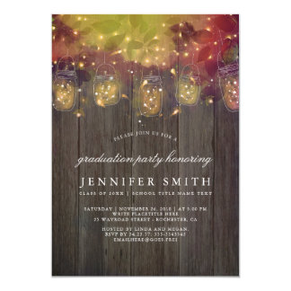 Firefly Lights and Mason Jars Graduation Party Card