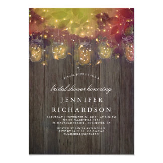 Firefly Lights and Mason Jars Rustic Bridal Shower Card