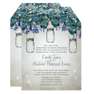 Firefly Mason Jar Navy Turquoise Peacock Invites