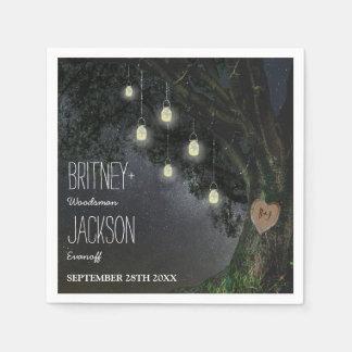 Firefly Mason Jar Oak Tree Wedding Napkins Paper Serviettes