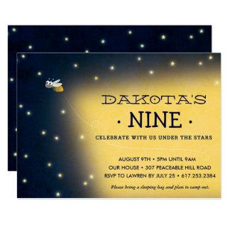 Firefly Sleepover Birthday Invitation, Card