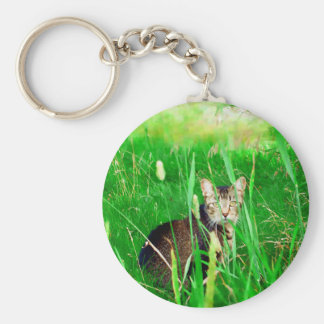Firefox Feral Cat Oil Painting Basic Round Button Key Ring