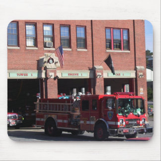 Firehouse and Engine Mouse Pad