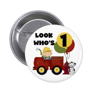 Fireman 1st Birthday Tshirts and Gifts 6 Cm Round Badge
