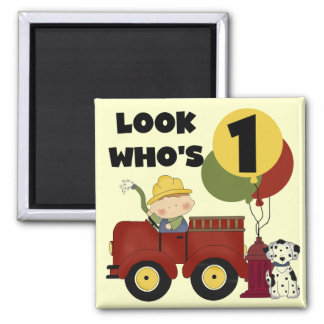 Fireman 1st Birthday Tshirts and Gifts Refrigerator Magnets