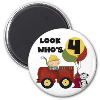 Fireman 4th Birthday Tshirts and Gifts Refrigerator Magnet