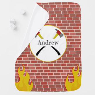 Fireman Axe + Bricks Personalized Baby Blanket