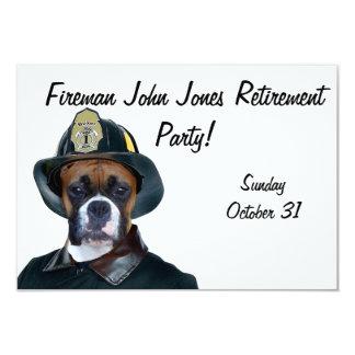 Fireman boxer dog 9 cm x 13 cm invitation card