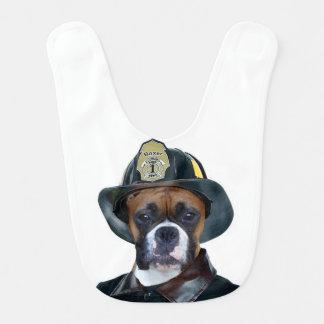 Fireman boxer dog baby bibs