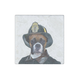 Fireman boxer dog stone magnet