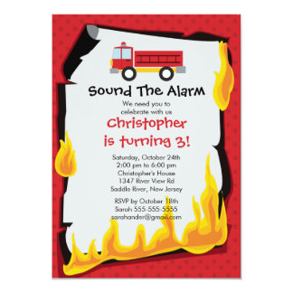 Fireman Boy Firetruck Birthday Party 13 Cm X 18 Cm Invitation Card