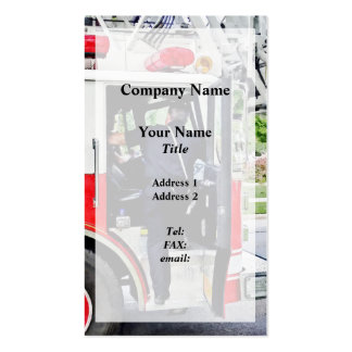 Fireman Climbing into Fire Truck Business Cards