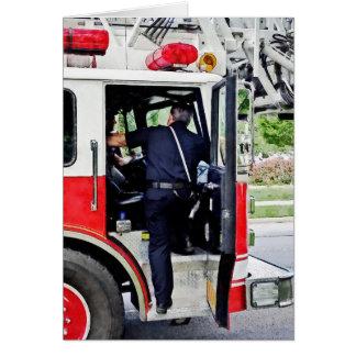 Fireman Climbing into Fire Truck Cards