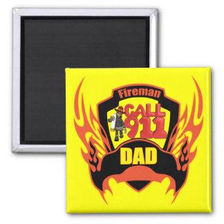 Fireman Dad Square Magnet