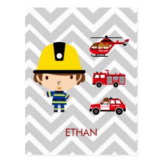 Fireman Emergency Vehicles on Chevron Postcard