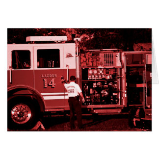 fireman entering truck burgundy colored greeting cards