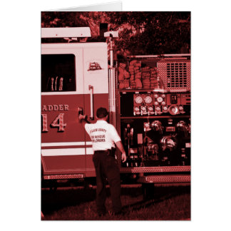 fireman entering truck burgundy colored greeting card