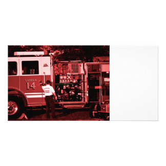 fireman entering truck burgundy colored customized photo card