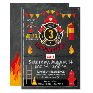 Fireman Fire Department Gear and Badge Birthday Card