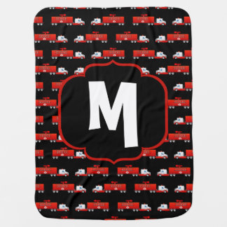 Fireman Fire Truck Red and Black Initial Firetruck Baby Blanket